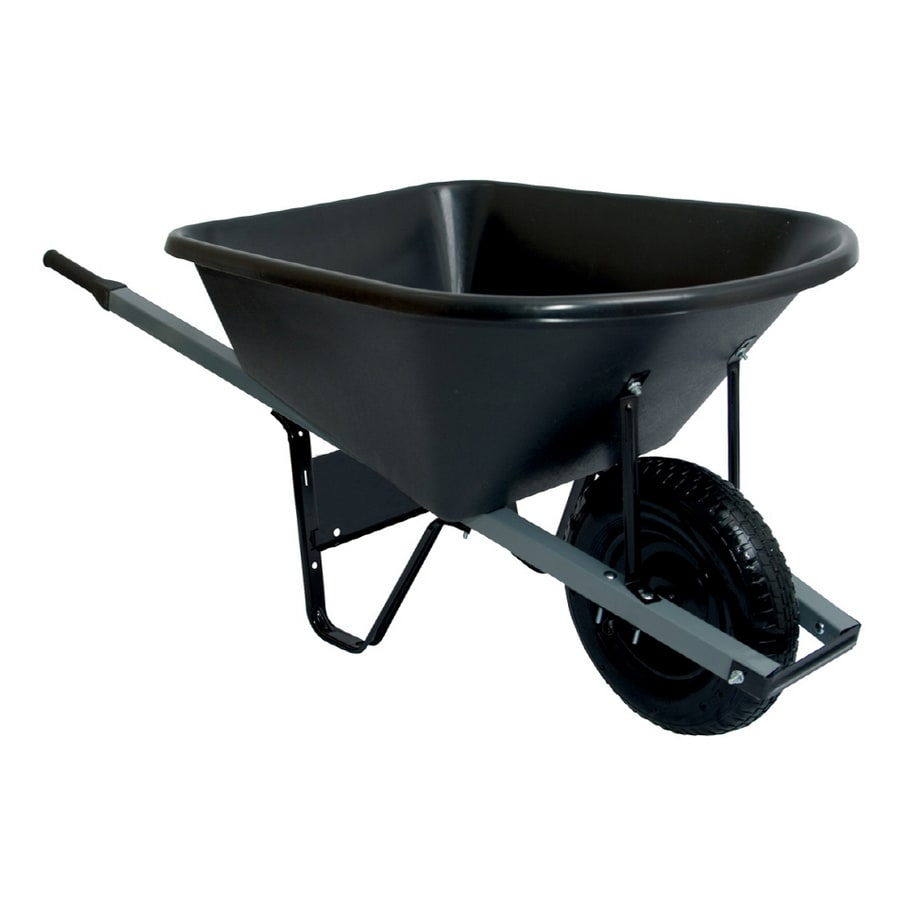 True Temper 6 Cu. Ft. Poly Wheelbarrow with Knob Tires