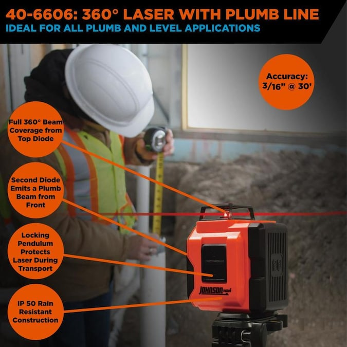 Johnson Level Line Level Lasers 50 Ft Red Beam Self Leveling Line Generator 360 Laser Level With Plumb Points Level And With Case In The Laser Levels Department At Lowes Com