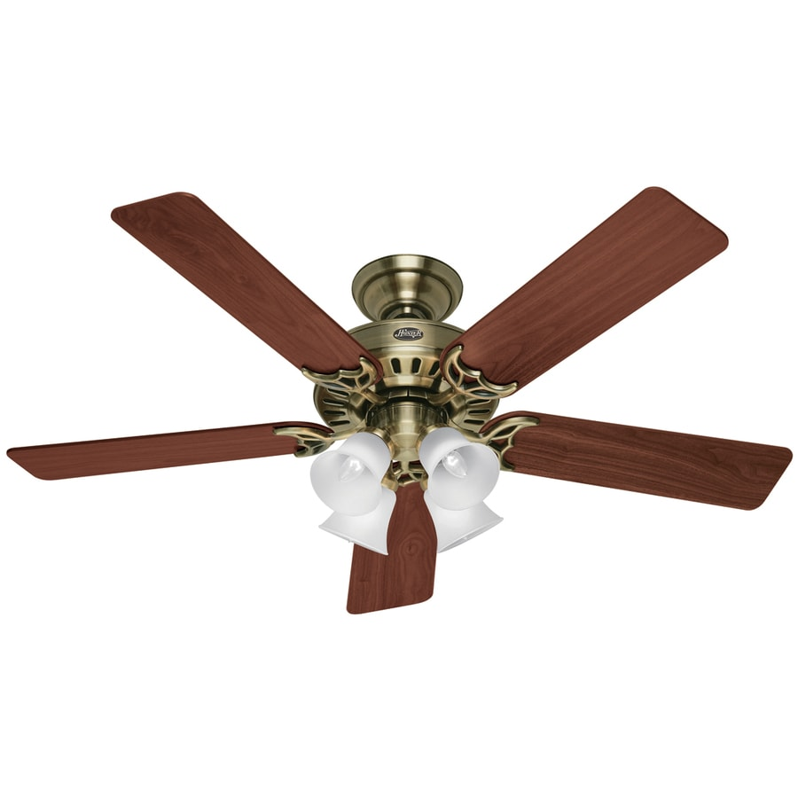 Hunter Ceiling Fan Light Kits Antique Brass: Shop Hunter 52-in Studio Antique Brass Ceiling Fan With