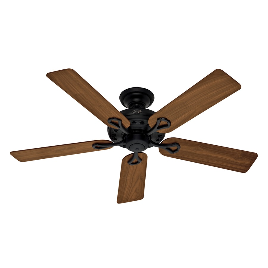 Hunter The Savoy 52-in Matte Black Downrod or Flush Mount Ceiling Fan ENERGY STAR