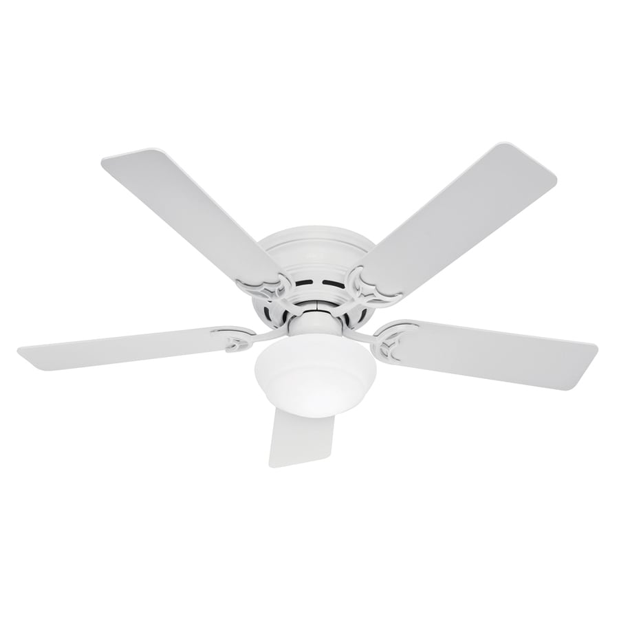 Hunter 52-in Low Profile III Plus White Ceiling Fan with Light Kit