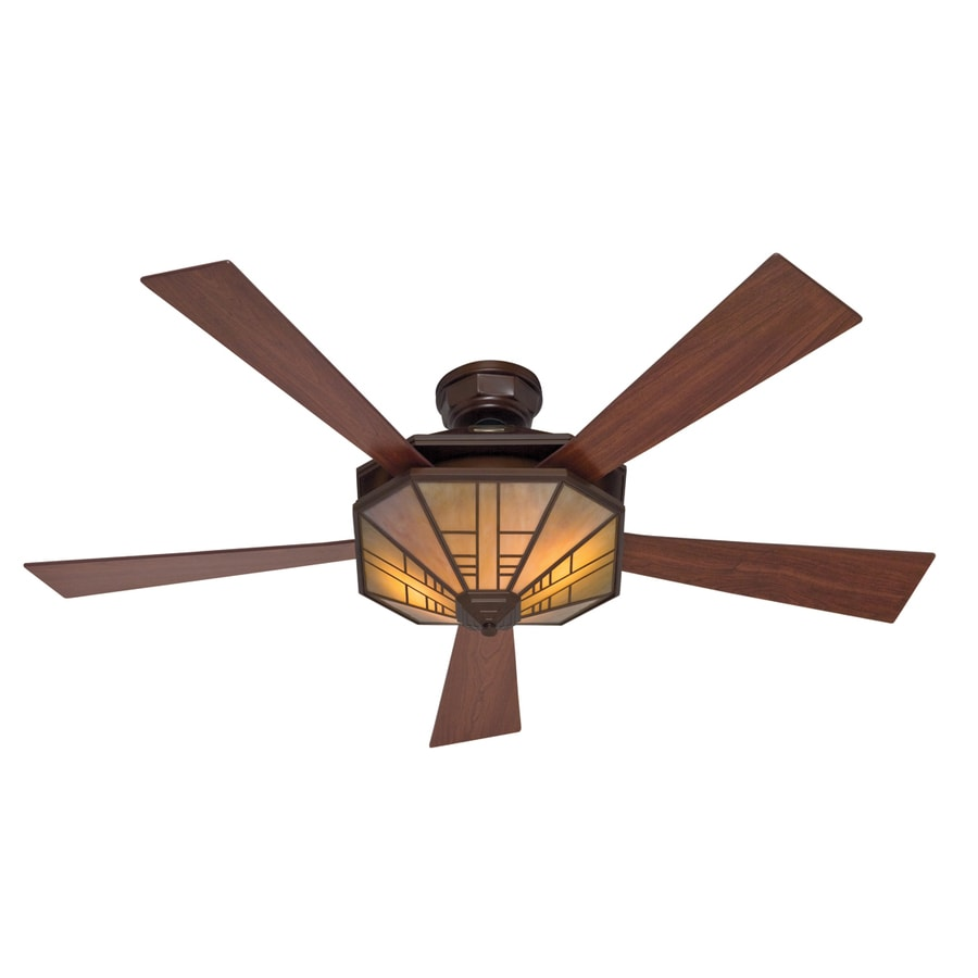 Hunter 54-in 1912 Mission Bronze Ceiling Fan with Light Kit