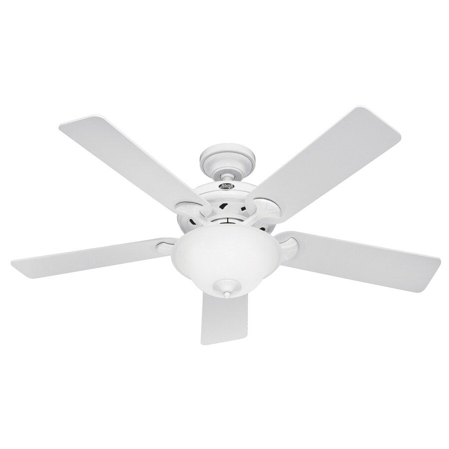 Hunter The Brookline 52-in White Downrod or Flush Mount Ceiling Fan with Light Kit