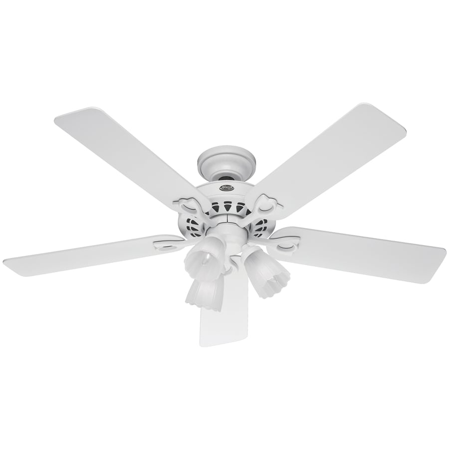 Hunter 52-in Sontera White Ceiling Fan with Light Kit and Remote