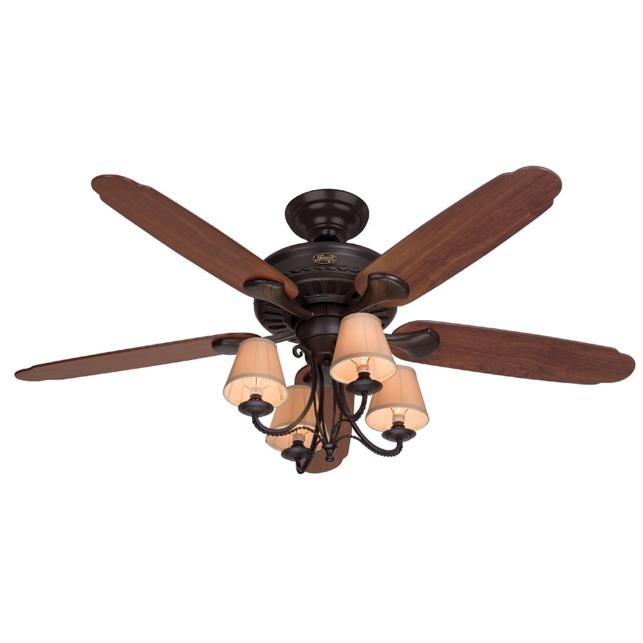 Hunter Cortland 54-in New Bronze Downrod or Flush Mount Ceiling Fan with Light Kit
