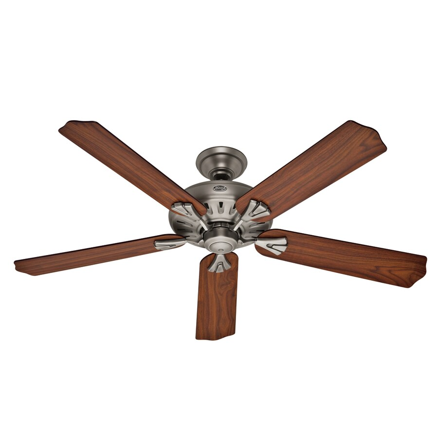 Hunter The Royal Oak 60-in Antique Pewter Downrod or Flush Mount Ceiling Fan with Remote ENERGY STAR