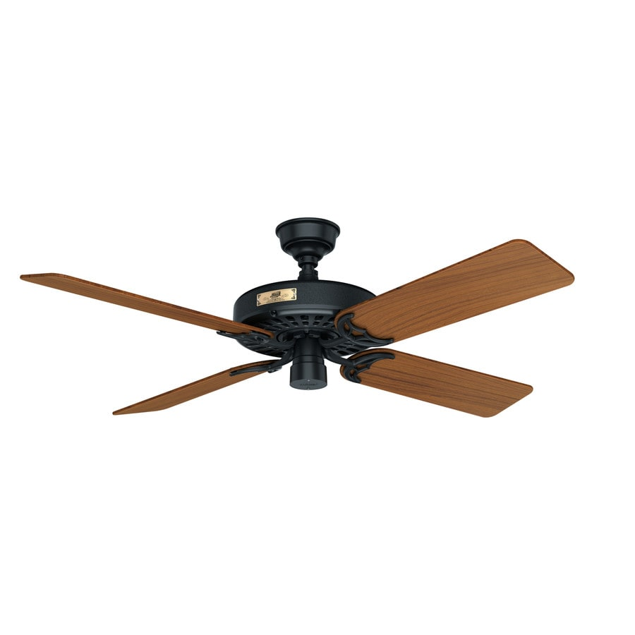 Hunter Original 52-in Antique Black Indoor/Outdoor Downrod Mount Ceiling Fan ENERGY STAR