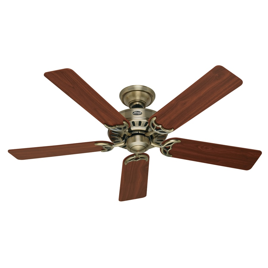 Hunter 52-in Summer Breeze Antique Brass Ceiling Fan ENERGY STAR