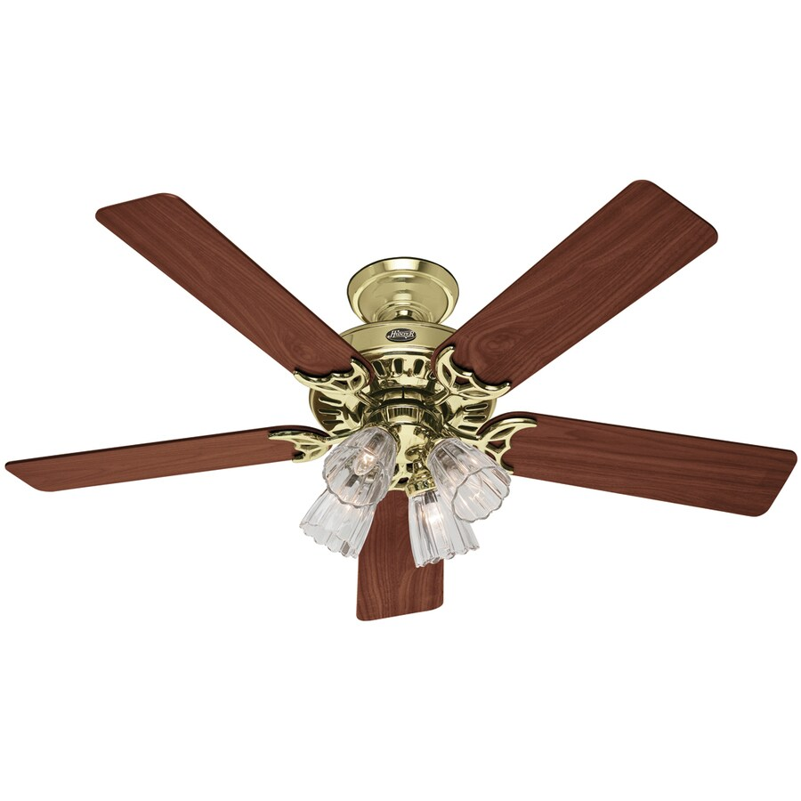 Hunter 52-in Studio Series Hunter Bright Brass Ceiling Fan with Light Kit