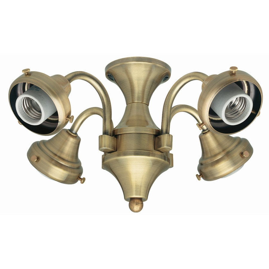 shop hunter 4 light antique brass ceiling fan light kit with glass not included glass or shade. Black Bedroom Furniture Sets. Home Design Ideas