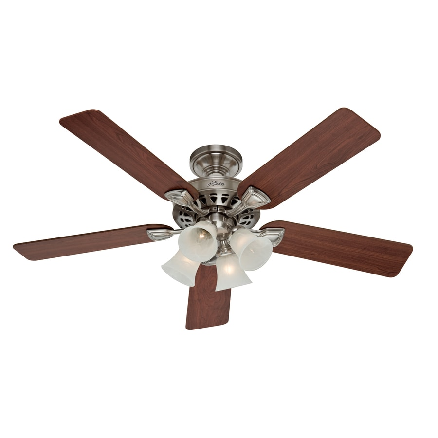 Hunter 52-in 5-Minute Brushed Nickel Ceiling Fan with Light Kit