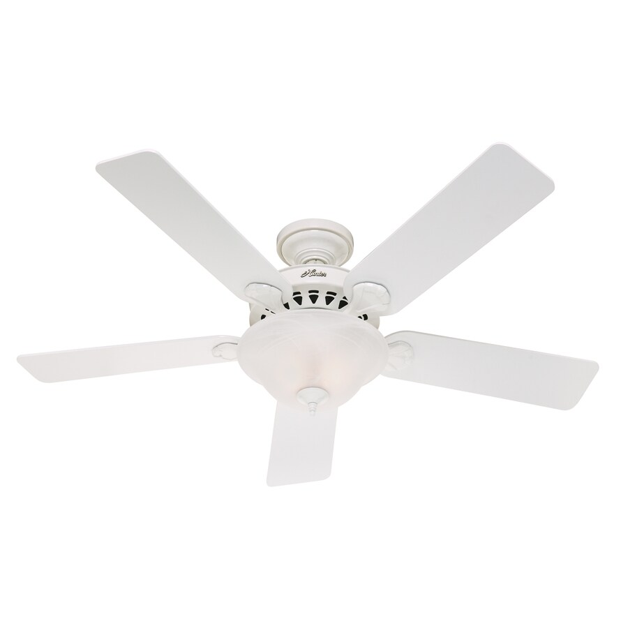 Hunter White Fan Part - 46: Hunter 52-in 5-Minute Waldon White Ceiling Fan With Light Kit