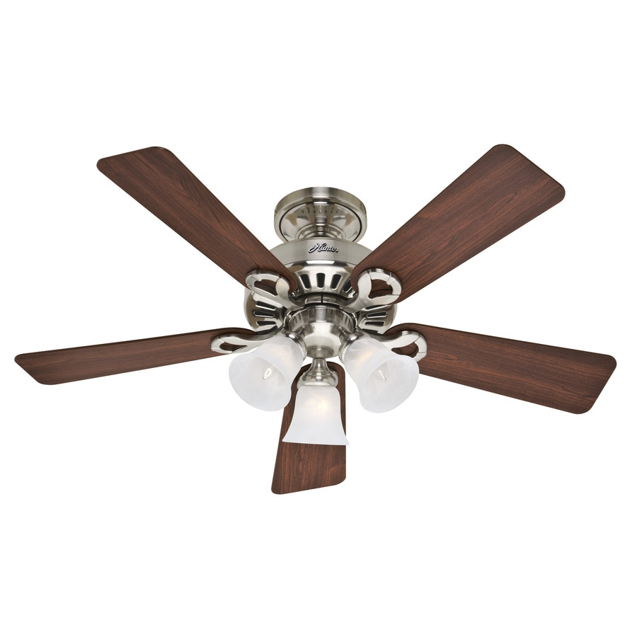 Hunter 44-in 5-Minute Ridgefield Brushed Nickel Ceiling Fan with Light Kit