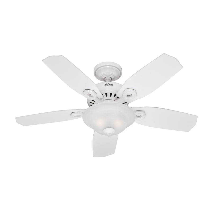 Hunter 44 In Auberville White Ceiling Fan With Light Kit At Lowes Com