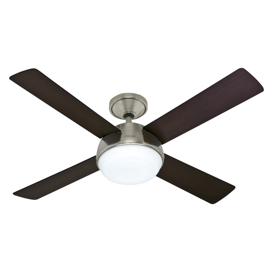 Hunter Arvada LED 52-in Brushed Nickel Downrod Mount Indoor Ceiling Fan with Integrated Light Kit and Remote (4-Blade)