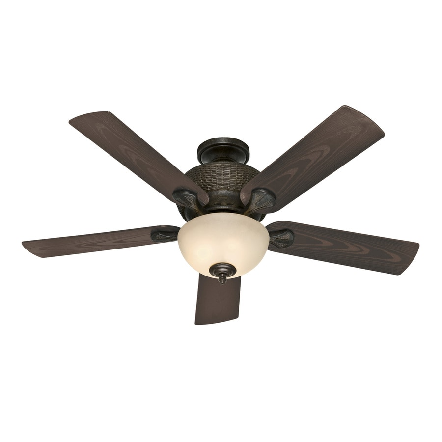 Hunter 52-in Mystique Black Outdoor Ceiling Fan with Light Kit