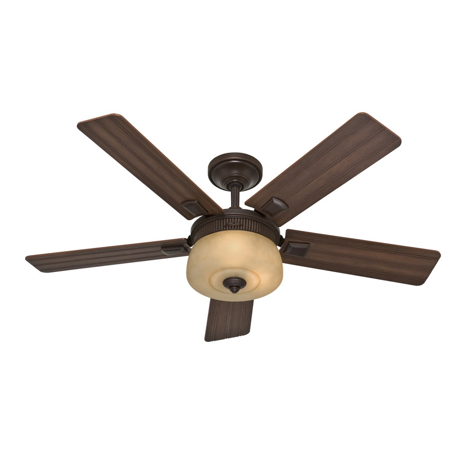Hunter 52-in Onyx Bengal Bronze Downrod Mount Indoor Ceiling Fan with Light Kit