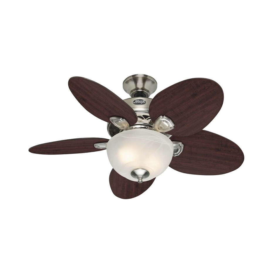 Hunter 34-in Melrose Brushed Nickel Ceiling Fan with Light Kit