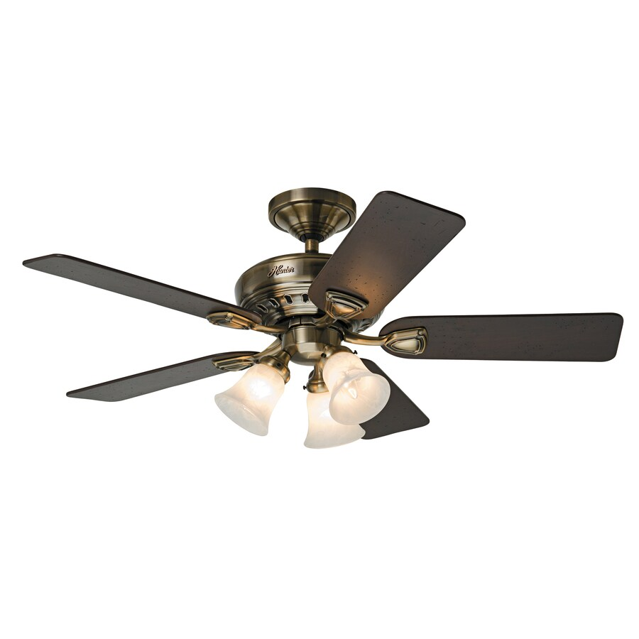 Hunter Ceiling Fan Light Kits Antique Brass: Shop Prestige By Hunter Bixby 46-in Antique Brass Downrod