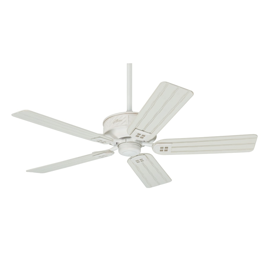 Prestige by Hunter Orchard Park 52-in Distressed White Downrod Mount Indoor/Outdoor Ceiling Fan