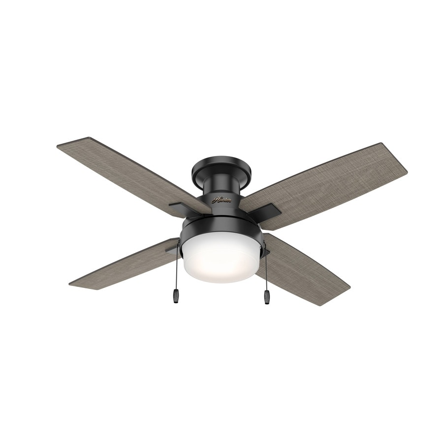 Hunter Port Haven Matte Black 44 In Led Indoor Outdoor Flush Mount Ceiling Fan With Light Kit 4 Blade In The Ceiling Fans Department At Lowes Com