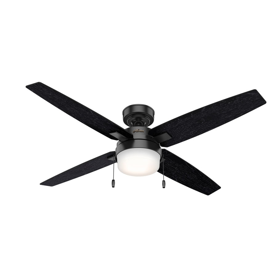Hunter Crossfield 54 In Matte Black Led Indoor Ceiling Fan 4 Blade In The Ceiling Fans Department At Lowes Com