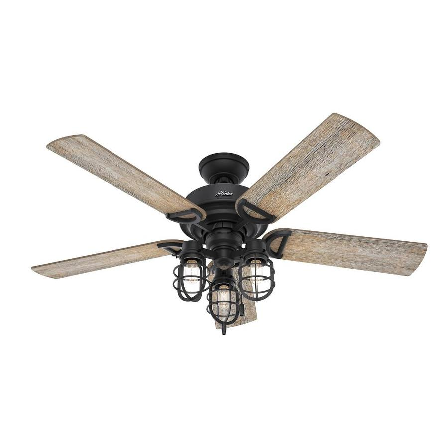 Hunter Starklake Led Natural Iron 52 In Led Indoor Outdoor Ceiling Fan 5 Blade In The Ceiling Fans Department At Lowes Com