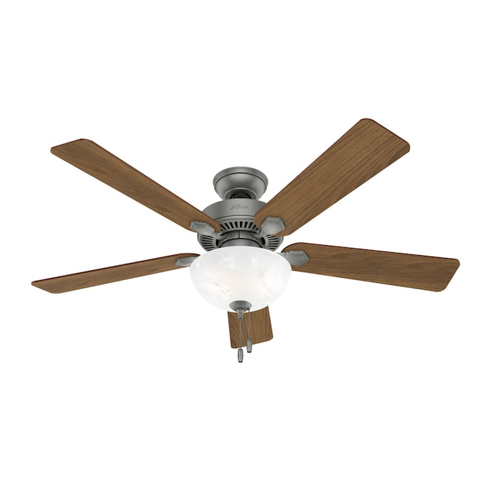 Hunter Swanson Led 52 In Matte Silver Led Indoor Ceiling Fan 5 Blade In The Ceiling Fans Department At Lowes Com