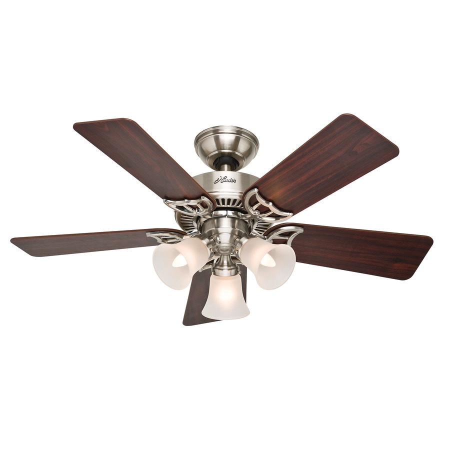 Hunter Southern Breeze 42-in Brushed Nickel Downrod or Close Mount Indoor Ceiling Fan with Light Kit