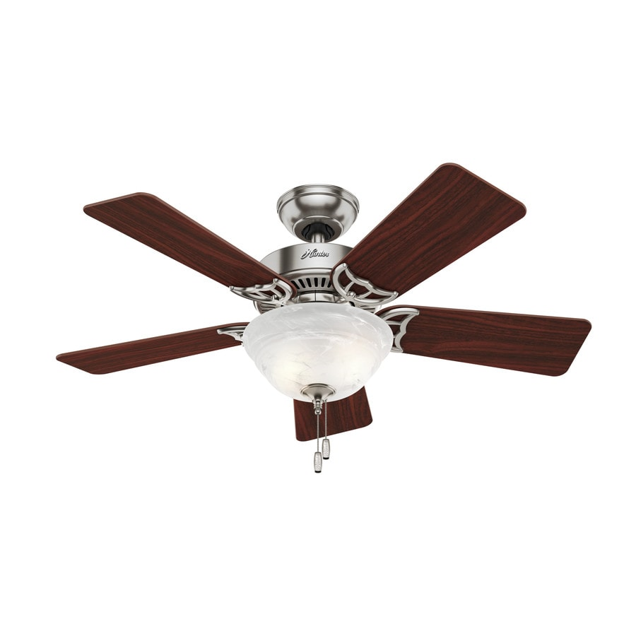 Hunter The Kensington 42-in Brushed Nickel Indoor Downrod Or Close Mount Ceiling Fan with Light Kit