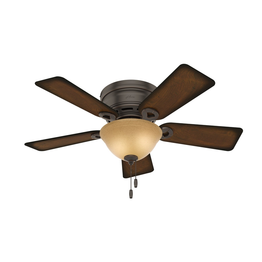 Hunter Conroy 42 In Onyx Bengal Bronze Indoor Flush Mount Ceiling Fan With Light Kit
