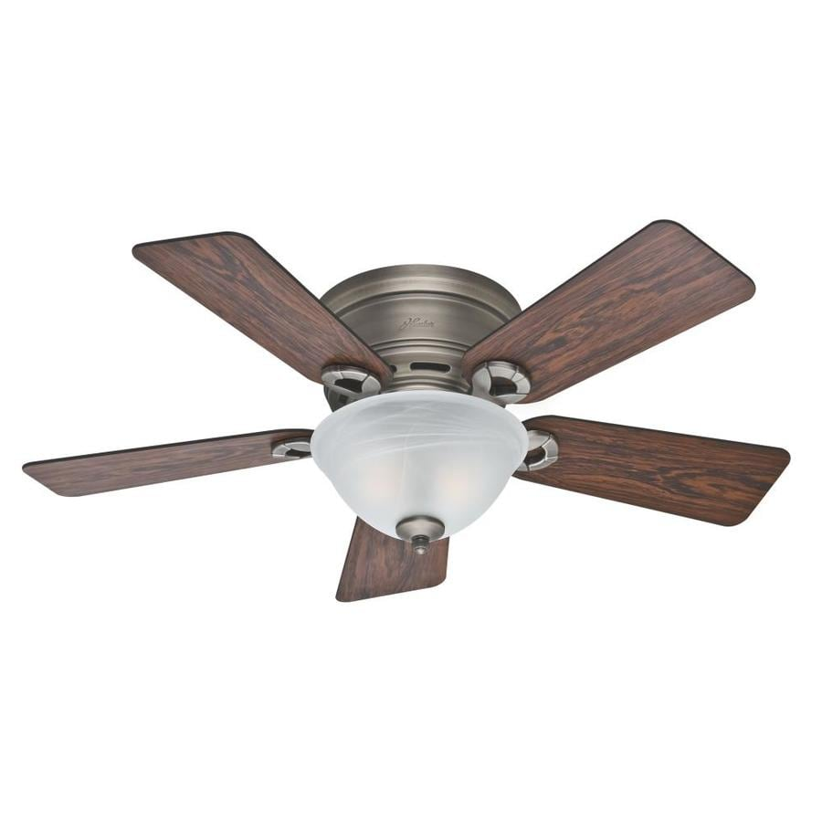 Hunter 42-in Antique Pewter Indoor Flush Mount Ceiling Fan with Light Kit
