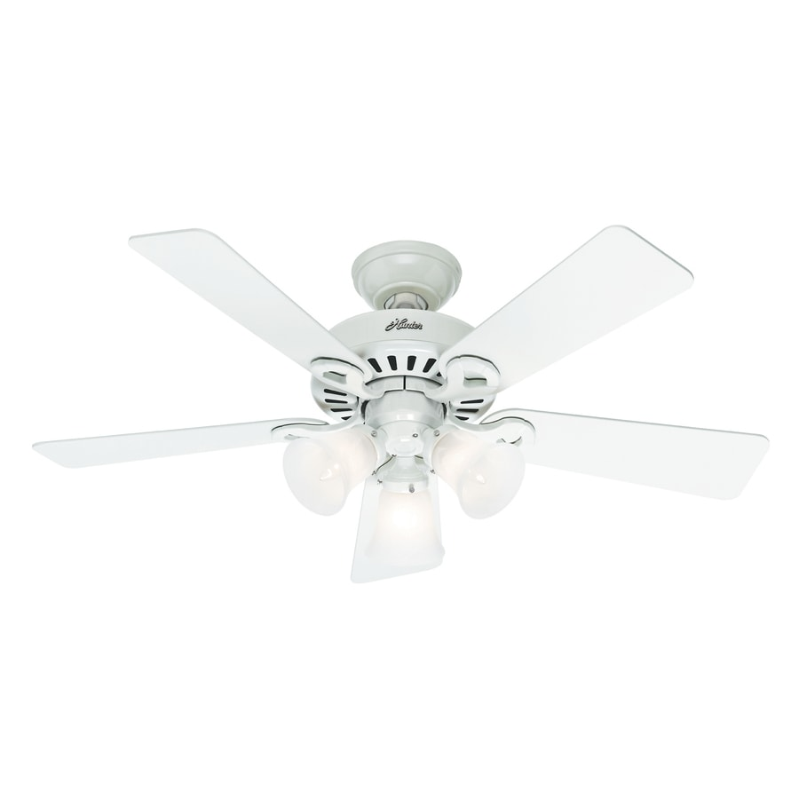 44 White Downrod Close Mount Indoor Outdoor Tropical: Shop Hunter Ridgefield 5 Minute Fan 44-in White Downrod Or