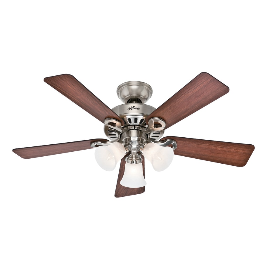 Hunter Ridgefield 5 Minute Fan 44-in Brushed Nickel Downrod or Close Mount Indoor Ceiling Fan with Light Kit