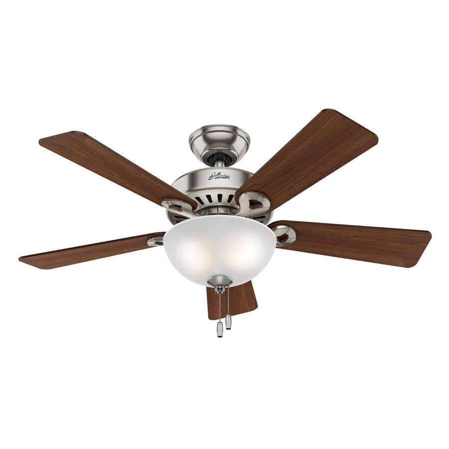 Hunter Ridgefield Bowl 5 Minute Fan 44-in Brushed Nickel Indoor Downrod Or Close Mount Ceiling Fan with Light Kit