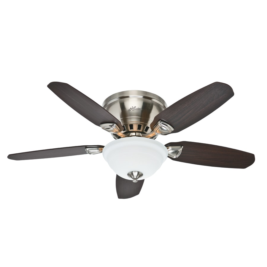 Hunter Louden 46-in Brushed Nickel Indoor Flush Mount Ceiling Fan with Light Kit