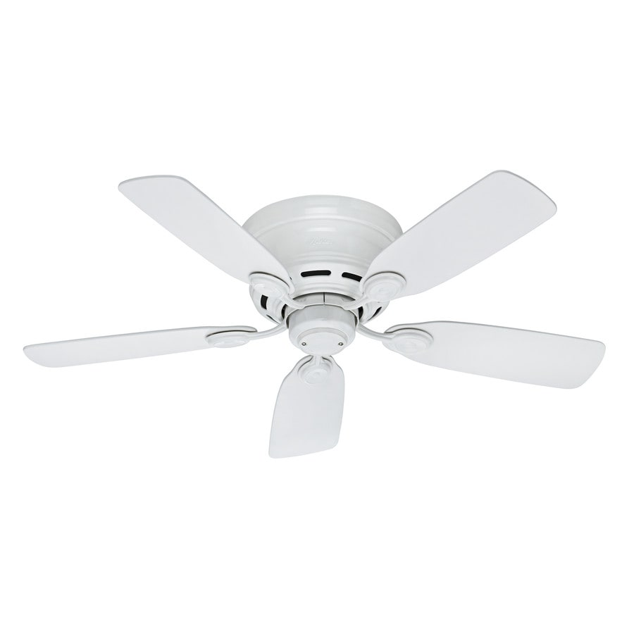 Hunter Low Profile IV 42-in White Flush Mount Indoor Ceiling Fan