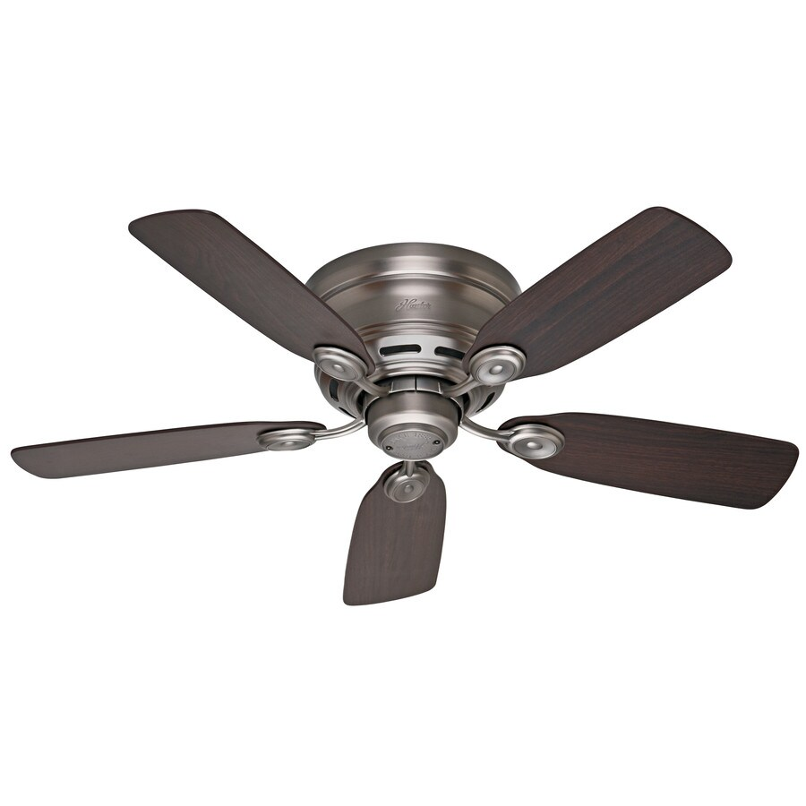 Shop Hunter Low Profile Iv 42-in Antique Pewter Flush Mount Indoor Ceiling Fan at Lowes.com