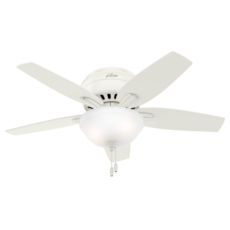 Hunter Newsome 42-in Fresh White Flush Mount Indoor Ceiling Fan with Light Kit
