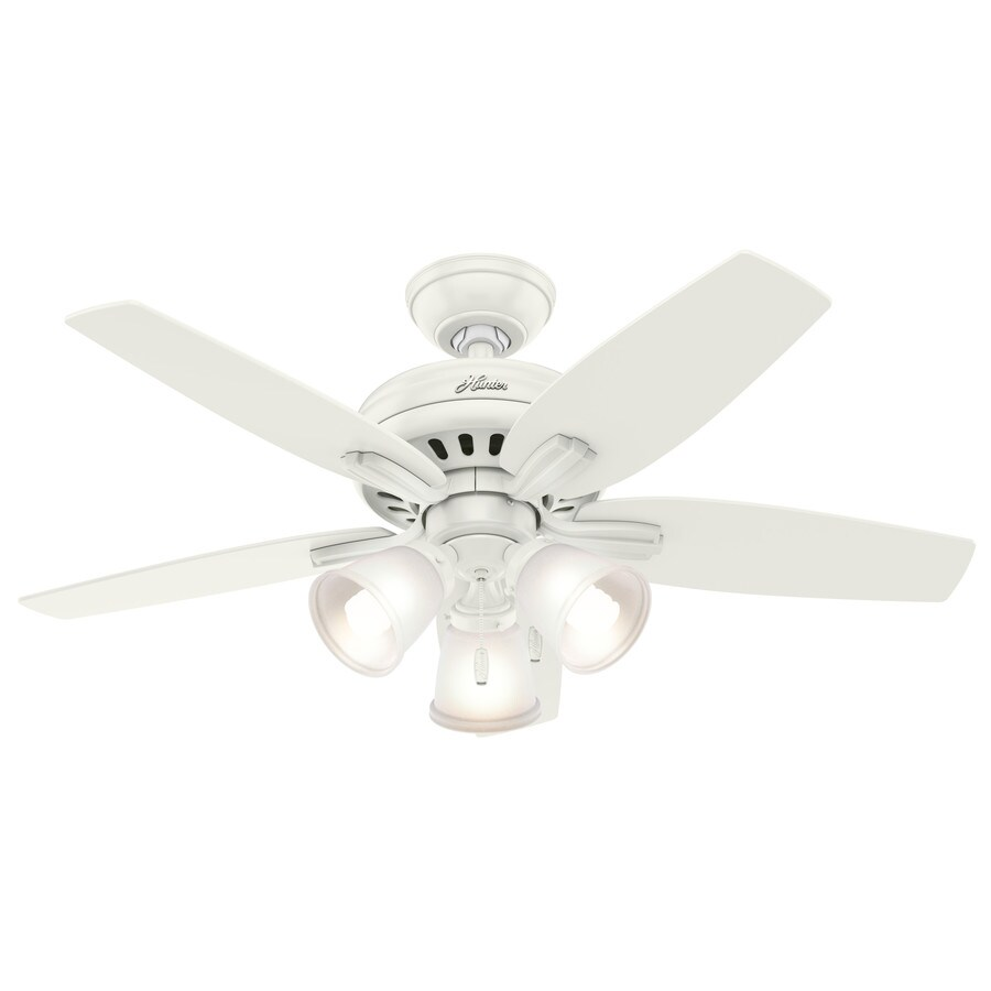 Hunter Newsome 42-in Fresh White Downrod or Close Mount Indoor Ceiling Fan with Light Kit