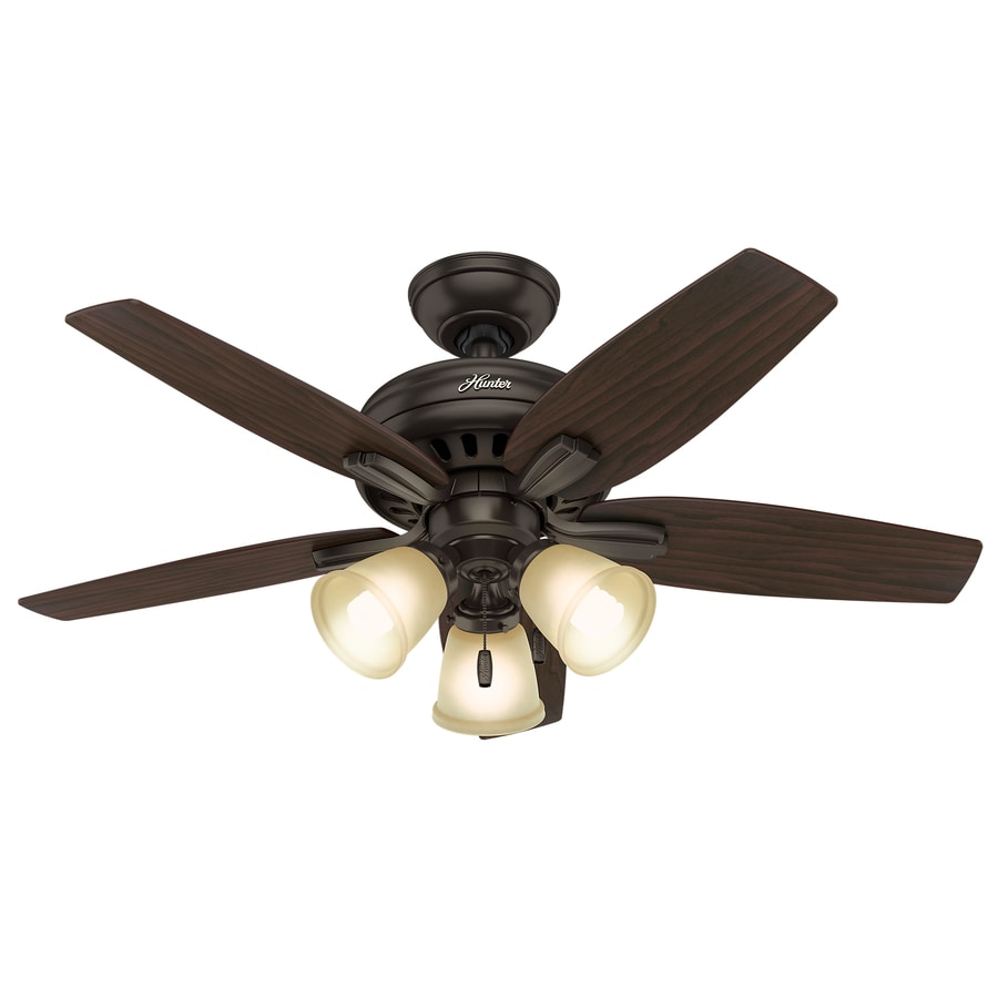 Hunter Newsome 42-in Premier Bronze Downrod or Close Mount Indoor Ceiling Fan with Light Kit
