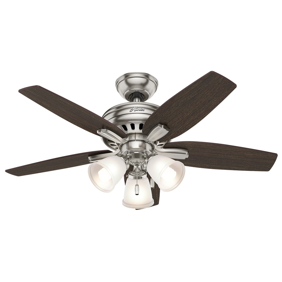 Hunter Newsome 42-in Brushed Nickel Downrod or Close Mount Indoor Ceiling Fan with Light Kit