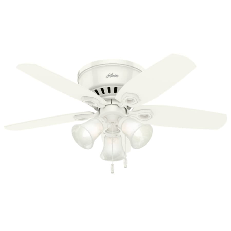 Hunter Builder Low Pro 42 In Snow White Indoor Flush Mount Ceiling Fan With Light