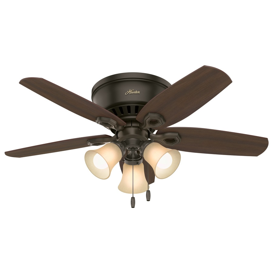 Hunter Builder Low Pro 42-in New Bronze Indoor Flush Mount Ceiling Fan with Light Kit