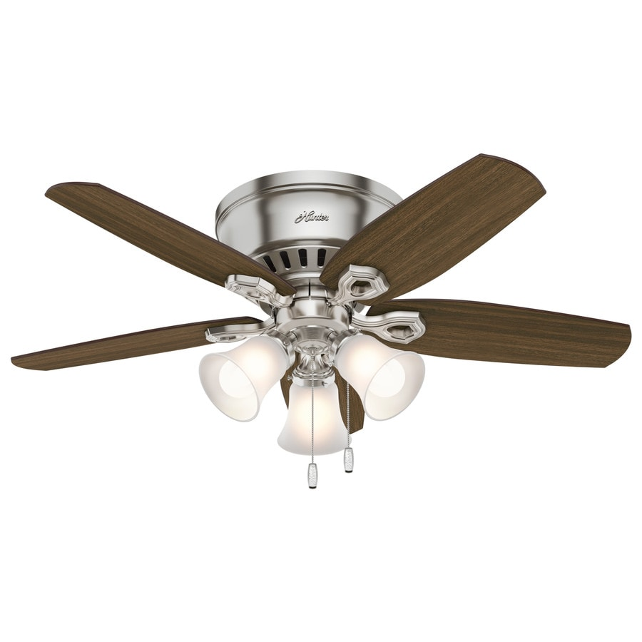 Hunter Builder Low Pro 42 In Brushed Nickel Indoor Flush Mount Ceiling Fan With Light