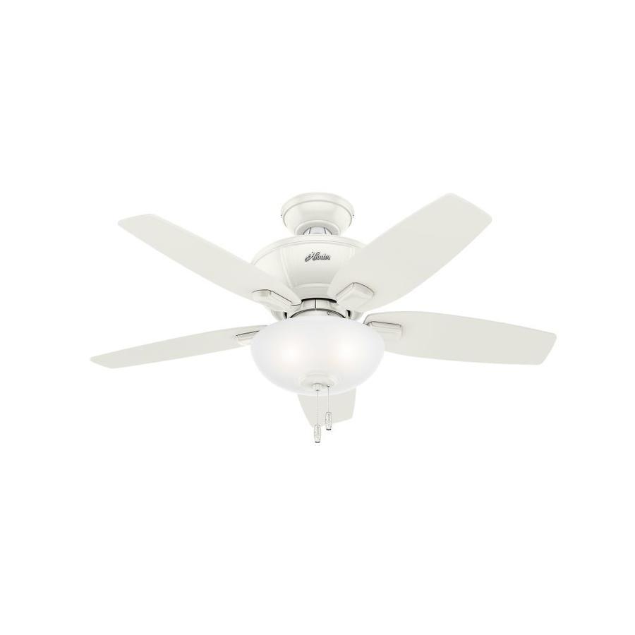 Hunter 1-Pack Kenbridge 42-in Fresh White Downrod or close mount Indoor Ceiling Fan with Light Kit