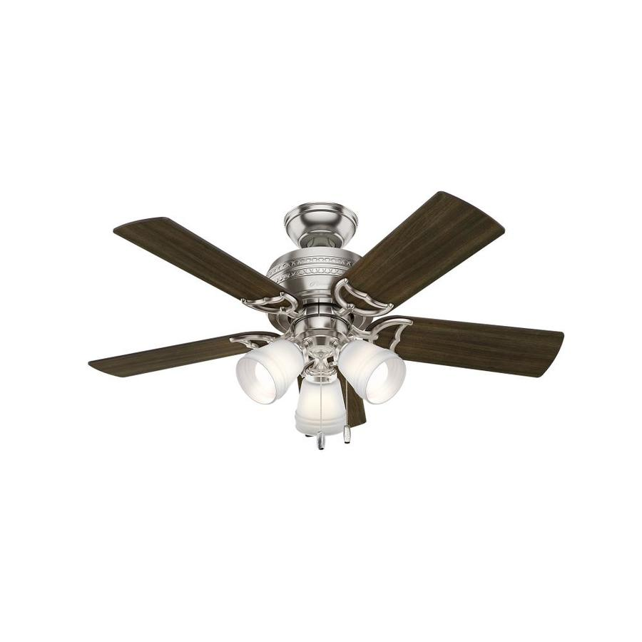Hunter 1-Pack Prim 42-in Brushed Nickel Downrod or close mount Indoor Ceiling Fan with Light Kit