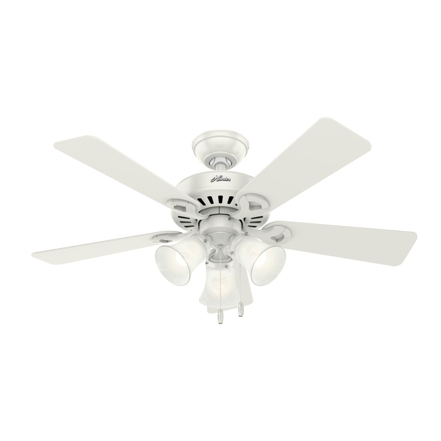 Hunter Ridgefield 44 In White Led Indoor Ceiling Fan With Light Kit 5 Blade At Lowes Com