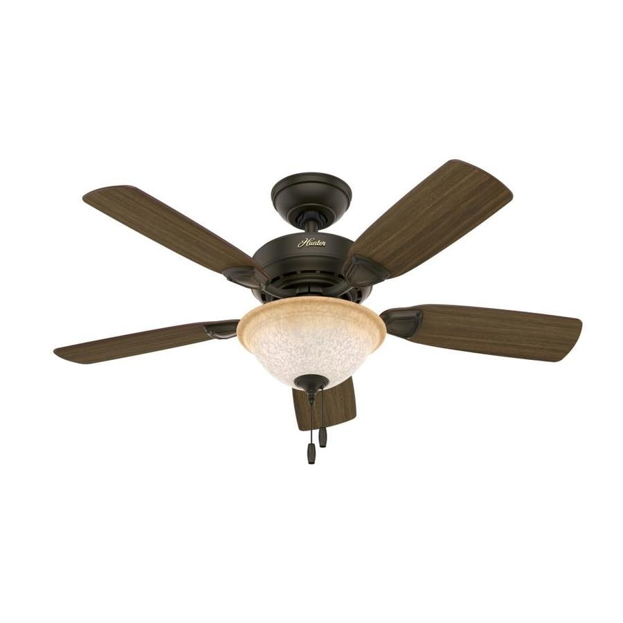 Hunter Caraway 44-in New Bronze Downrod or Close Mount Indoor Ceiling Fan with Light Kit