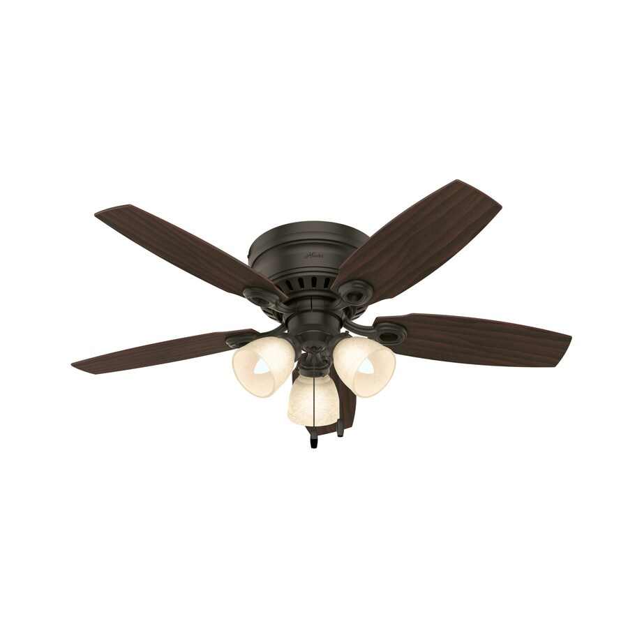 Hunter Hatherton 46-in New Bronze Flush Mount Indoor Ceiling Fan with Light Kit